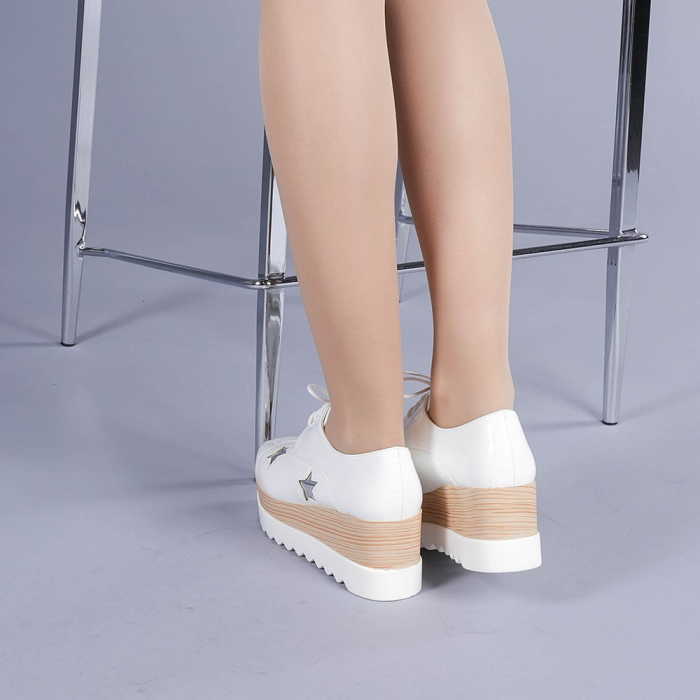 Pantofi casual dama Ramya albi 3