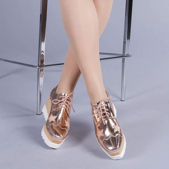 Pantofi casual dama Ramya champanie 1