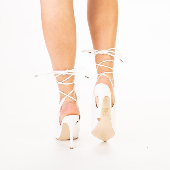 Pantofi dama Davina albi 3