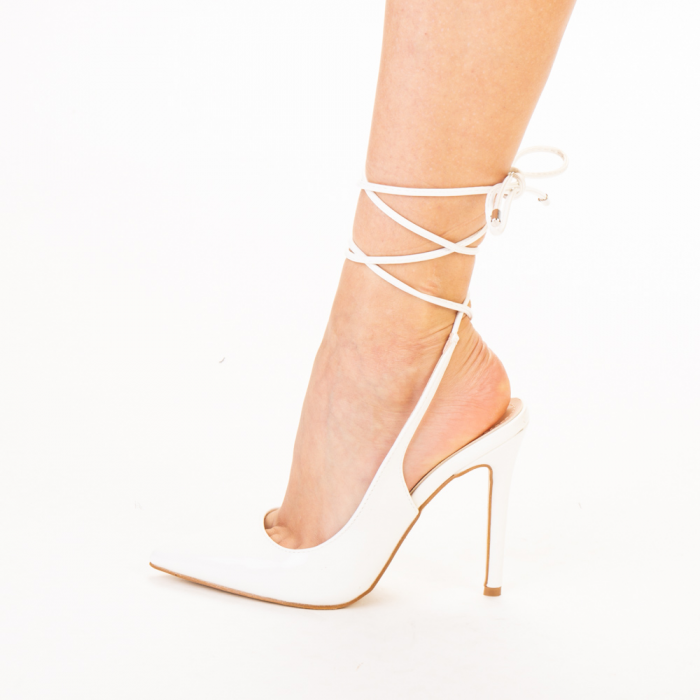 Pantofi dama Davina albi 2