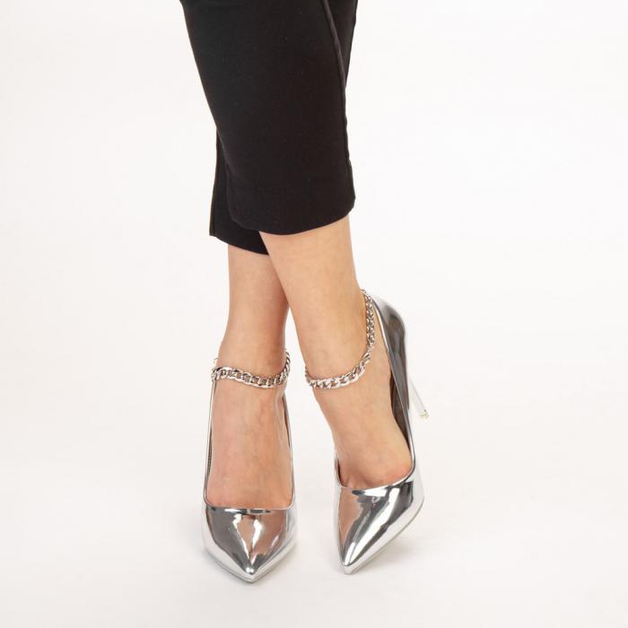 Pantofi dama Delir argintii 1