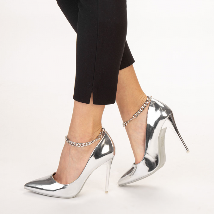 Pantofi dama Delir argintii 2