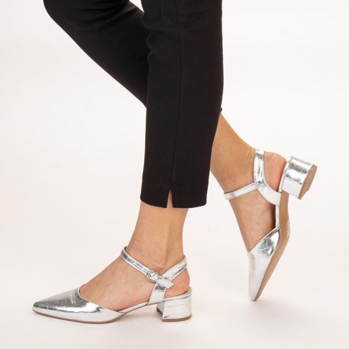 Pantofi dama Leela argintii 2
