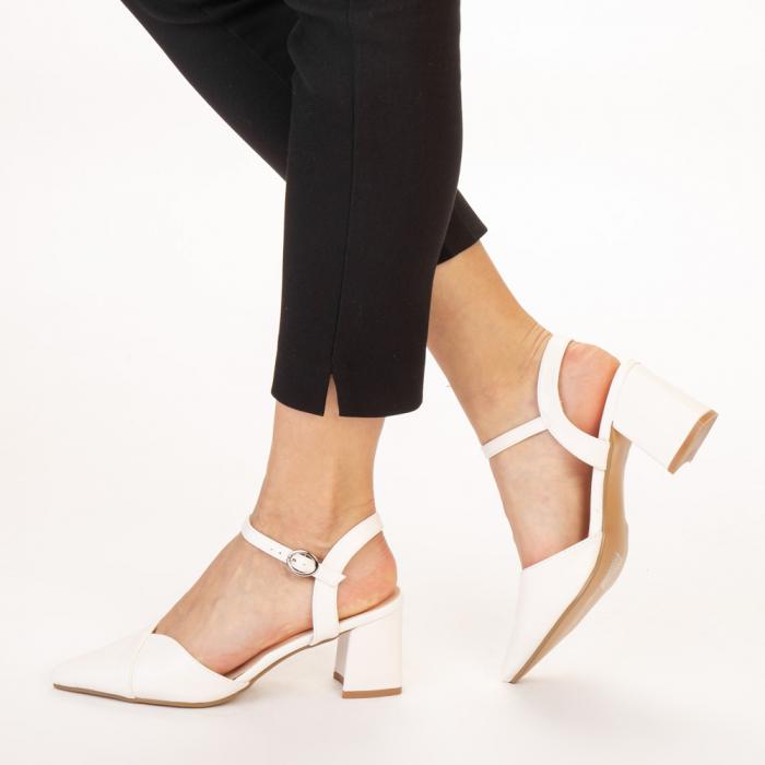 Pantofi dama Naden albi 2