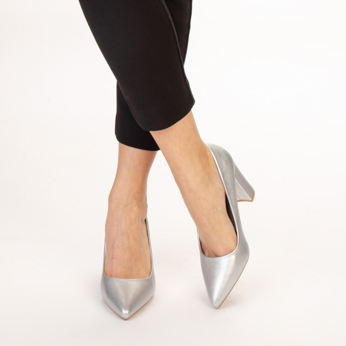 Pantofi dama Nelda argintii 1