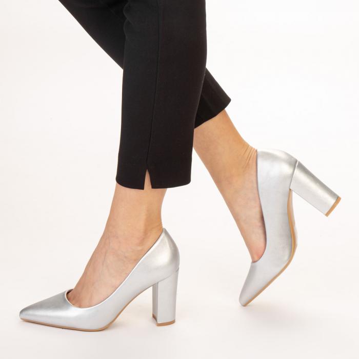 Pantofi dama Nelda argintii 2