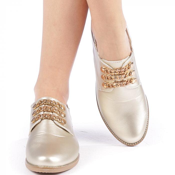 Pantofi dama Rafila aurii 4
