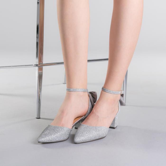 Pantofi dama Roxanne argintii 2