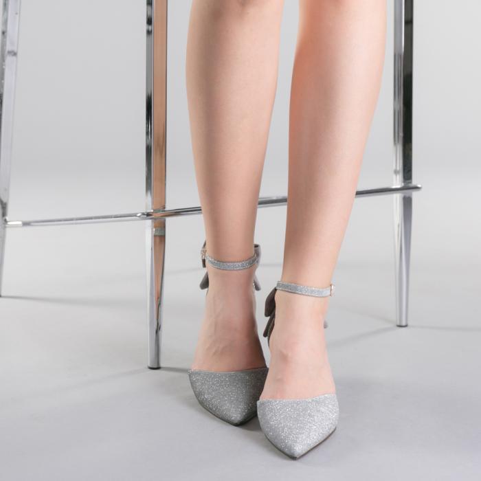 Pantofi dama Roxanne argintii 1