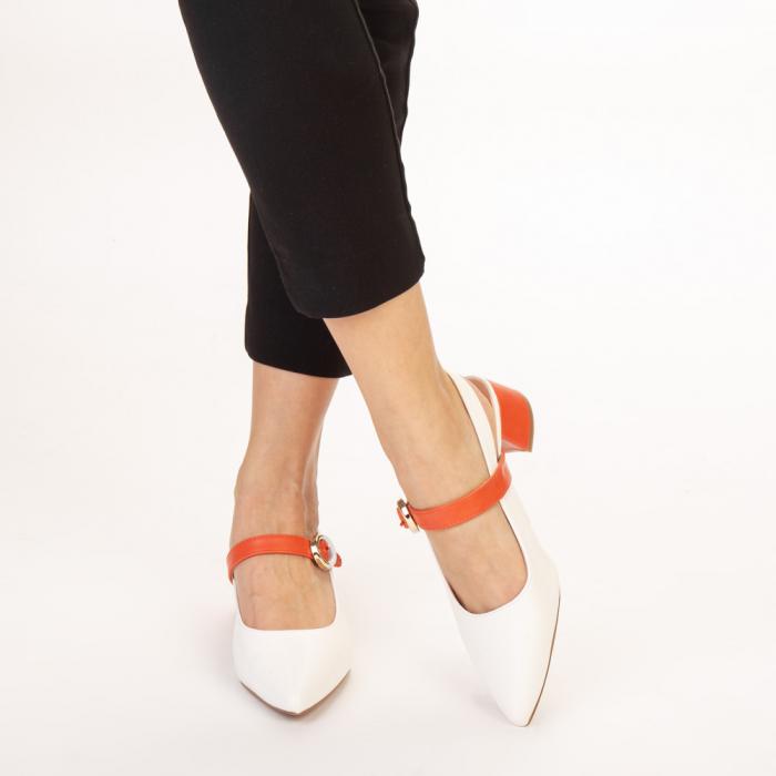 Pantofi dama Safar albi cu portocaliu 1