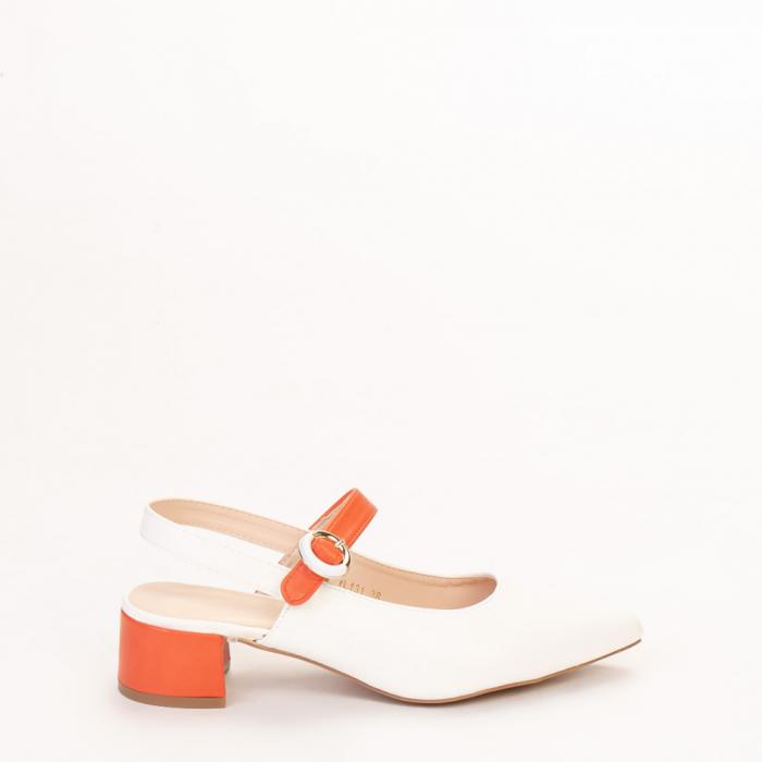 Pantofi dama Safar albi cu portocaliu 0