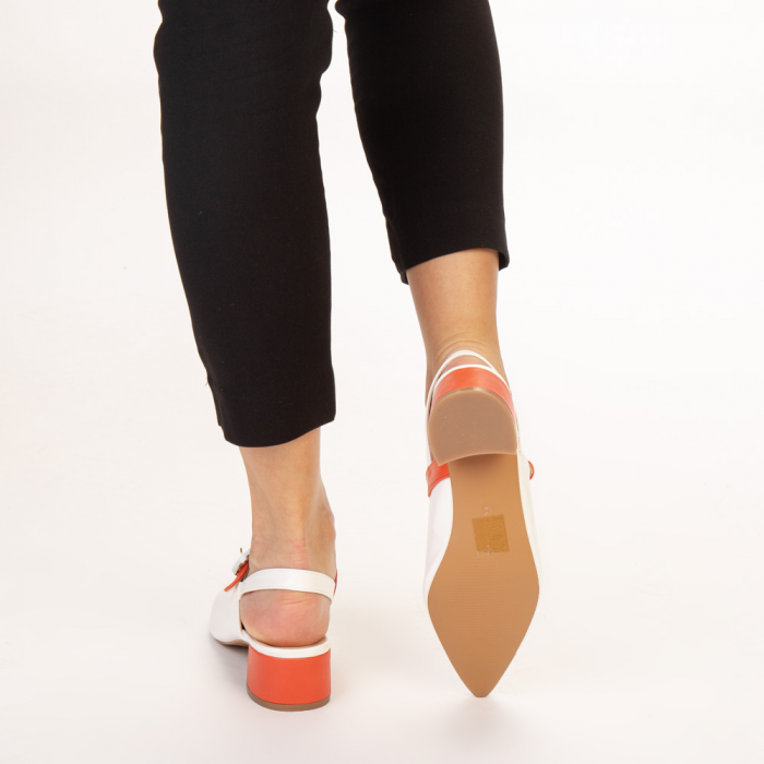 Pantofi dama Safar albi cu portocaliu 3