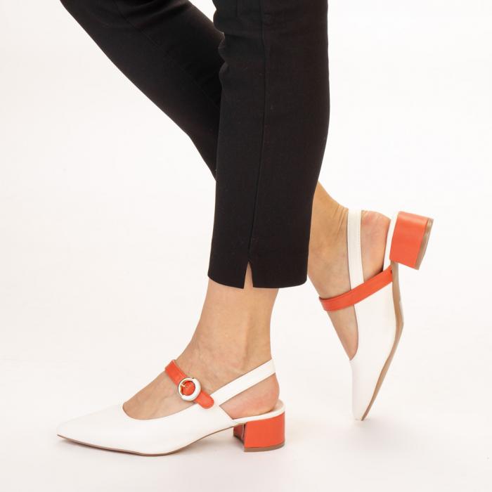 Pantofi dama Safar albi cu portocaliu 2