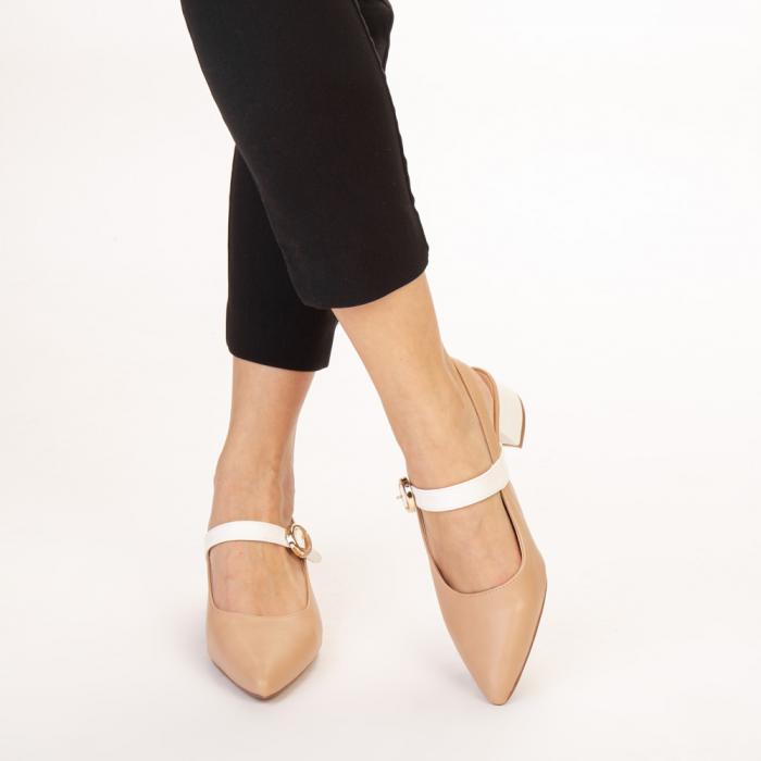 Pantofi dama Safar nude cu alb 1