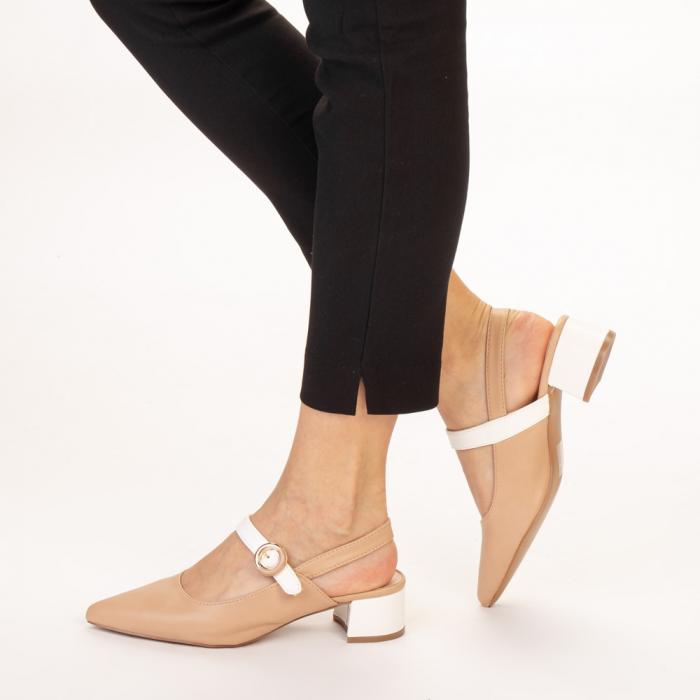 Pantofi dama Safar nude cu alb 2