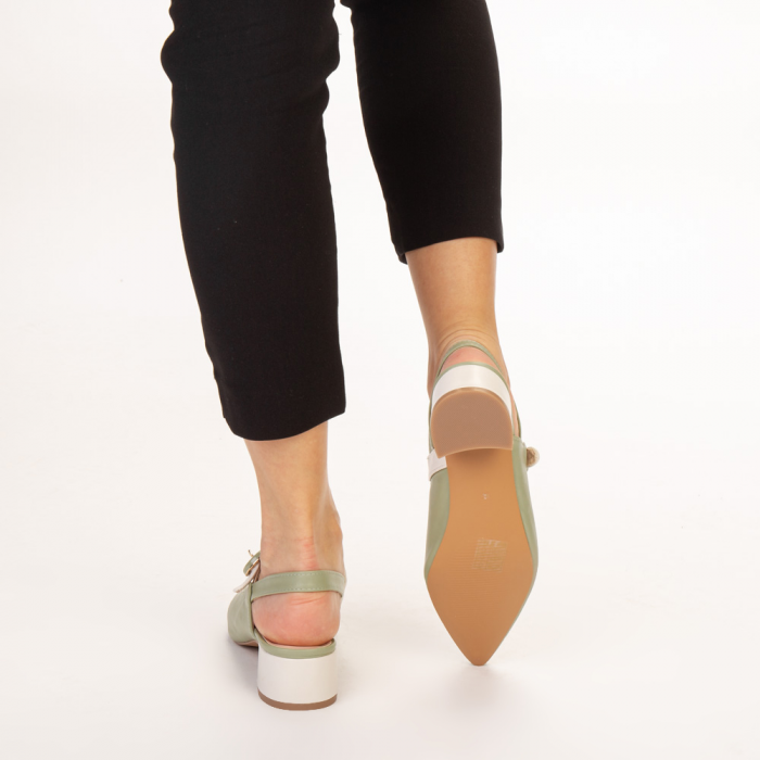 Pantofi dama Safar verzi cu alb 3