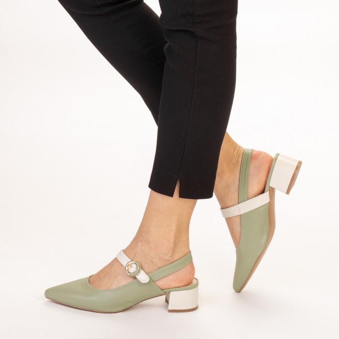 Pantofi dama Safar verzi cu alb 2
