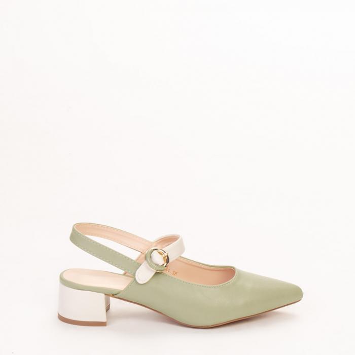 Pantofi dama Safar verzi cu alb 0
