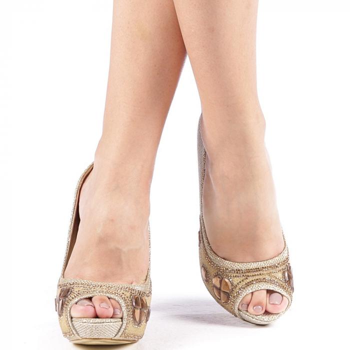 Pantofi dama Stacy aurii 4
