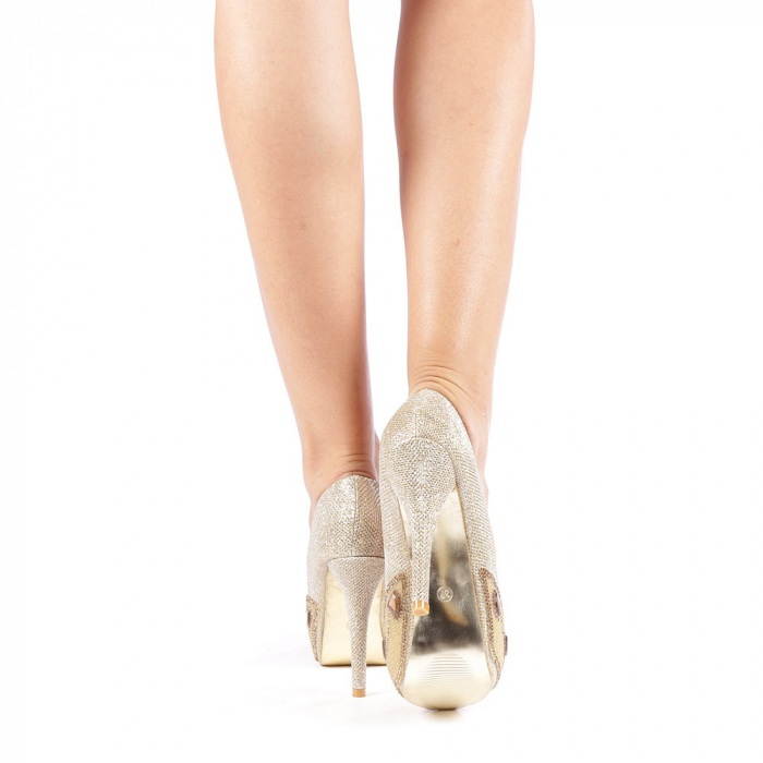 Pantofi dama Stacy aurii 2