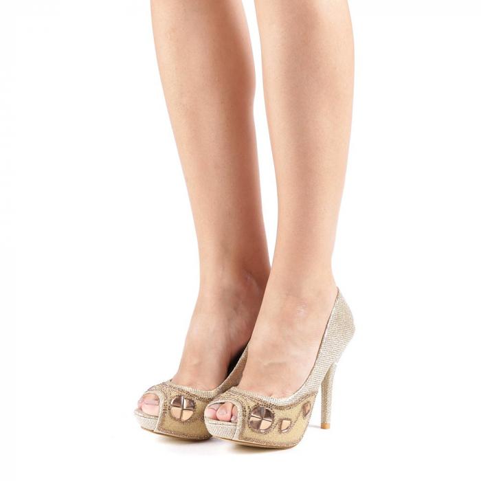 Pantofi dama Stacy aurii 1
