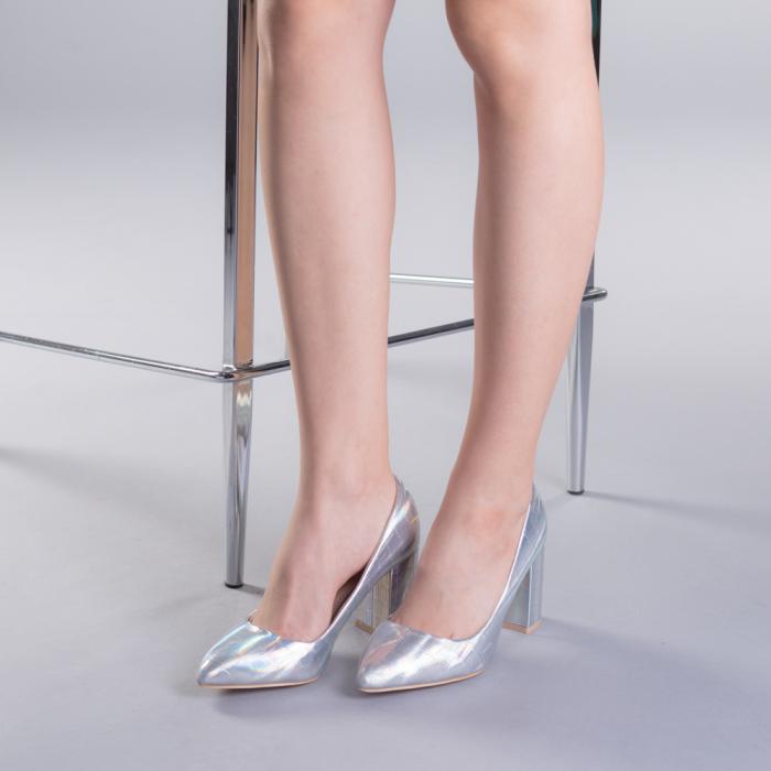 Pantofi dama Tina argintii 2