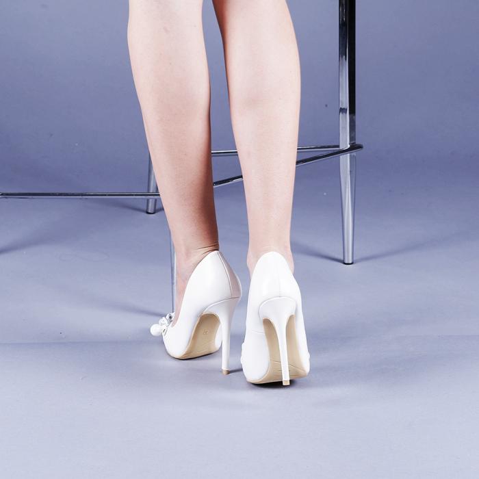 Pantofi dama Valentina albi 3