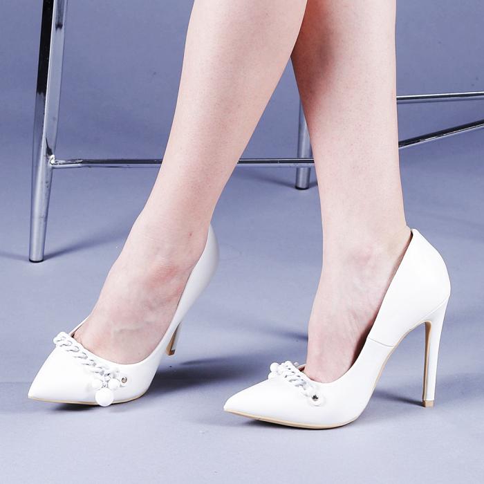 Pantofi dama Valentina albi 0