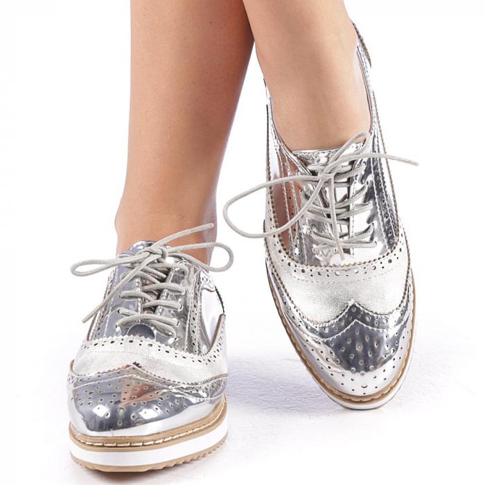 Pantofi dama Yvona argintii 4