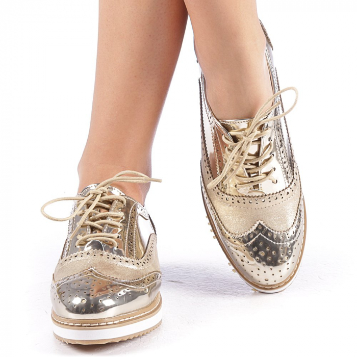 Pantofi dama Yvona aurii 4