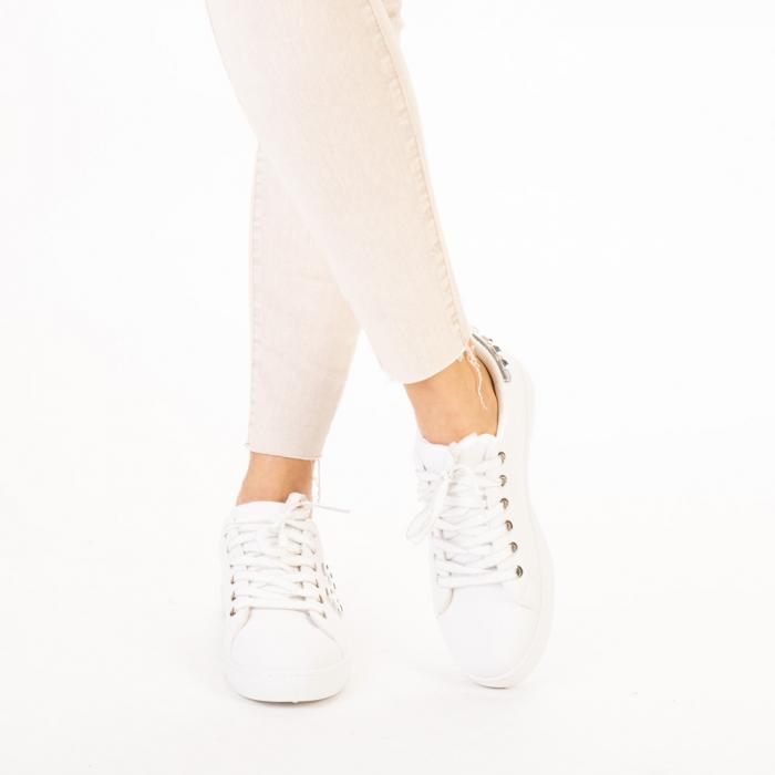Pantofi sport dama Alys albi cu argintiu 1