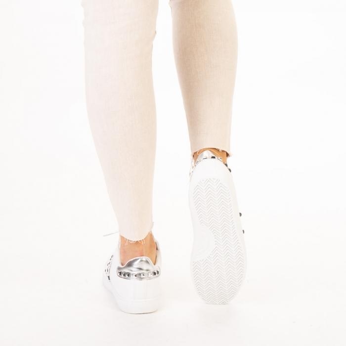 Pantofi sport dama Alys albi cu argintiu 3