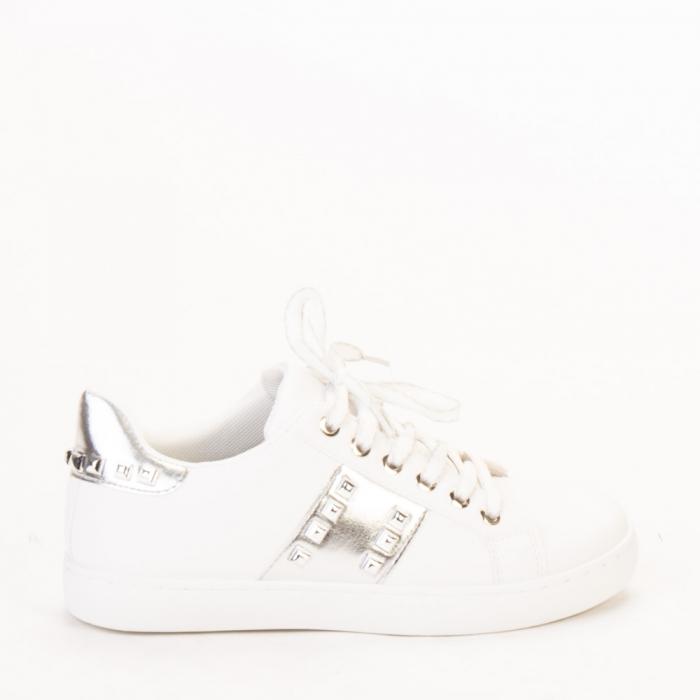 Pantofi sport dama Alys albi cu argintiu 0