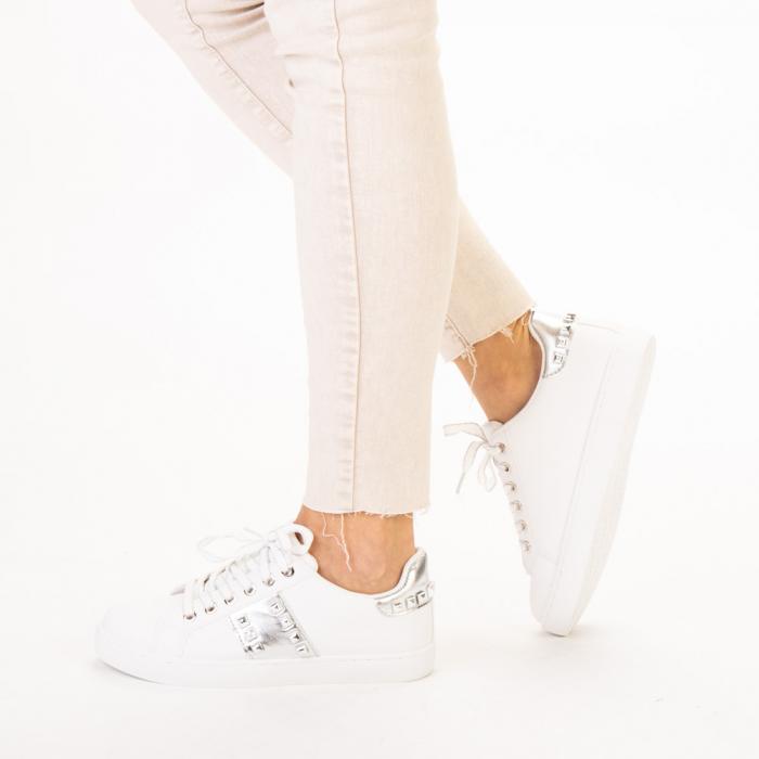 Pantofi sport dama Alys albi cu argintiu 2