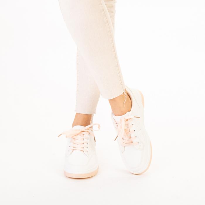 Pantofi sport dama Aren albi cu roz 1