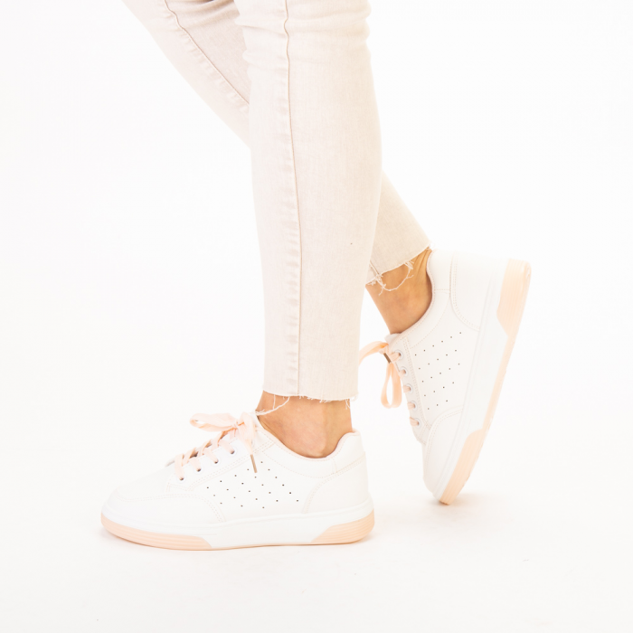 Pantofi sport dama Aren albi cu roz 2