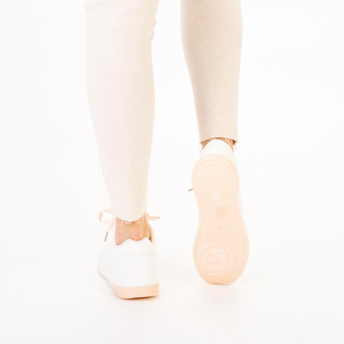Pantofi sport dama Aren albi cu roz 3