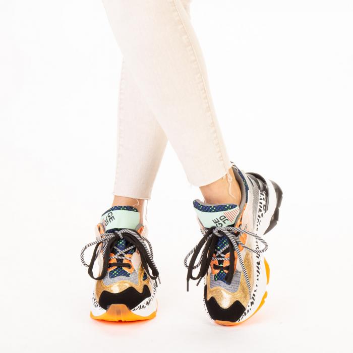 Pantofi sport dama aurii multicolor 1