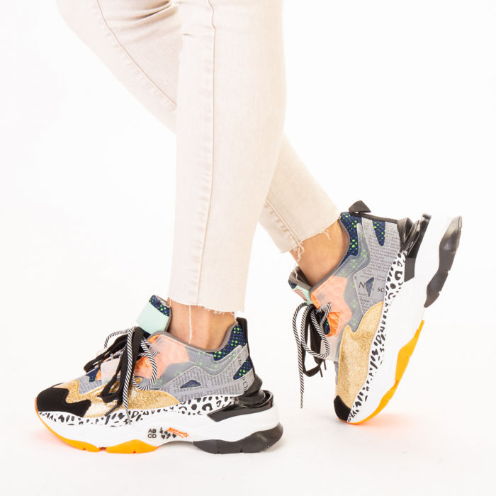 Pantofi sport dama aurii multicolor 2