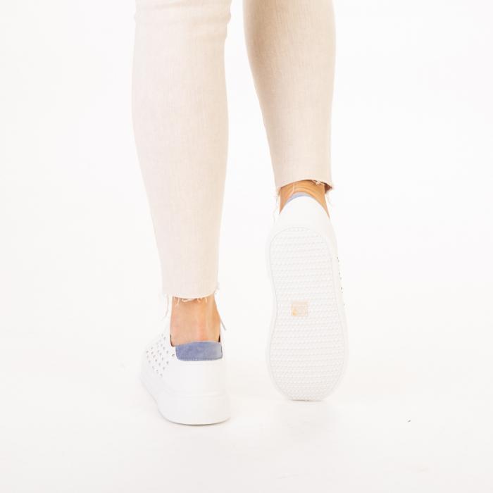 Pantofi sport dama Beki albi cu bleu 3