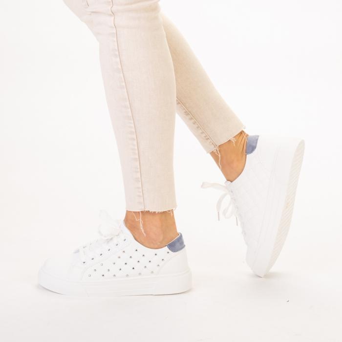 Pantofi sport dama Beki albi cu bleu 2