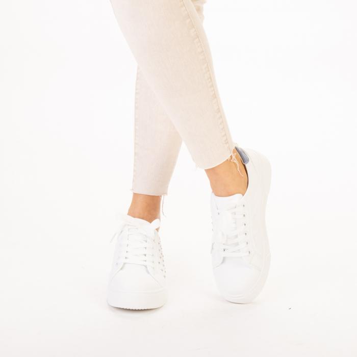 Pantofi sport dama Beki albi cu bleu 1