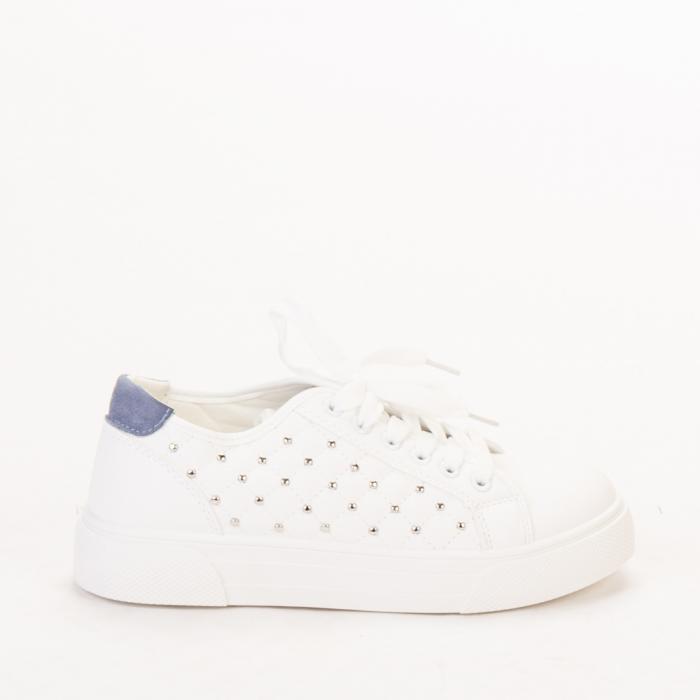 Pantofi sport dama Beki albi cu bleu 0