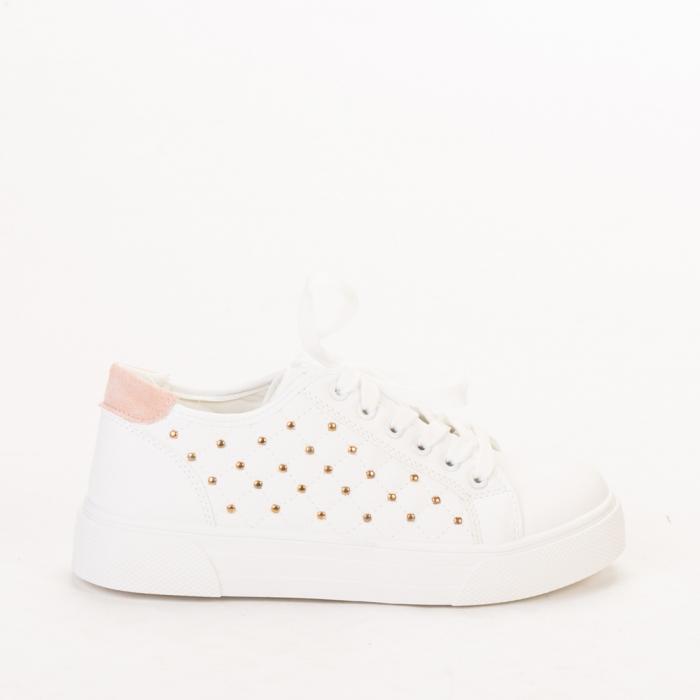 Pantofi sport dama Beki albi cu roz 0