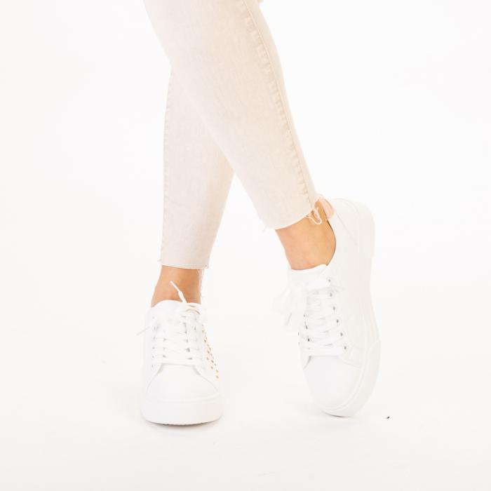 Pantofi sport dama Beki albi cu roz 1