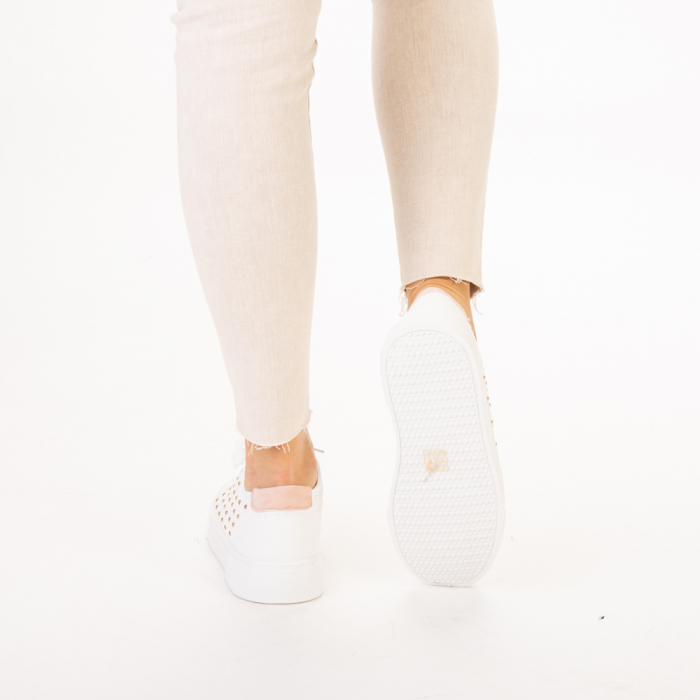 Pantofi sport dama Beki albi cu roz 3