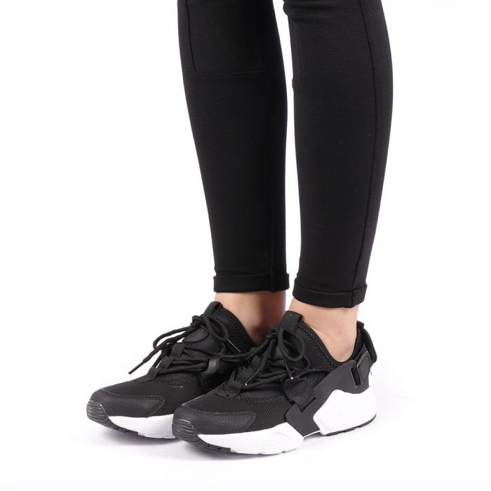 Pantofi sport dama Carmena negri cu alb 2