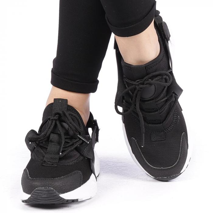 Pantofi sport dama Carmena negri cu alb 1