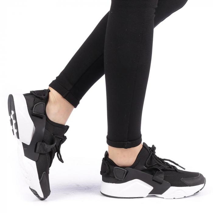 Pantofi sport dama Carmena negri cu alb 0