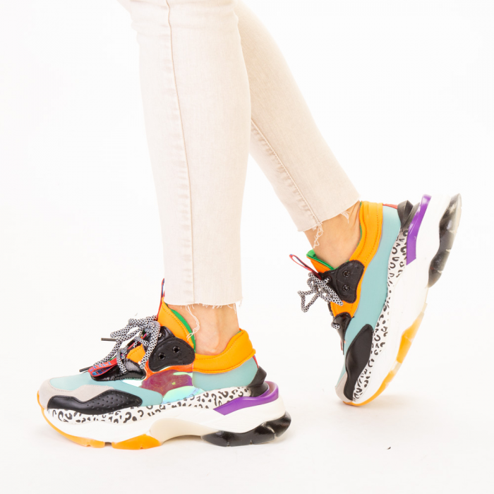 Pantofi sport dama Detta albastri multicolor 2